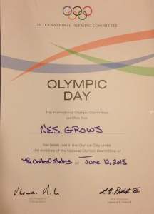 NESGrows Olympic Day Certificate 2015